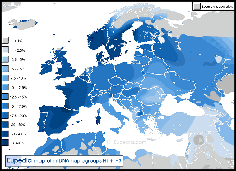 Distribution of mtDNA haplogroups H1 + H3 in Europe, North Africa and the Middle East
